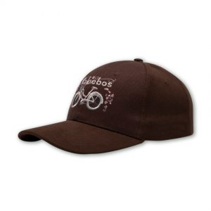 front shot of a chocolate ladies cap with embroidered bicycle
