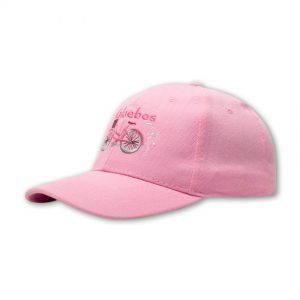 pink ladies cap front shot with embroidered bicycle