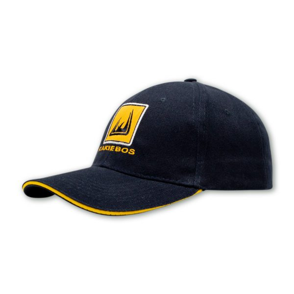 navy mens cap front shot with embroidered kakiebos badge