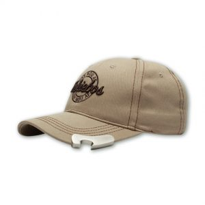 khaki mens cap with bottle opener and embroidered design